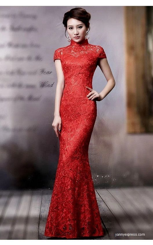 Chinese Wedding Grand Red Qipao Gown Lace Allover Reception Dress