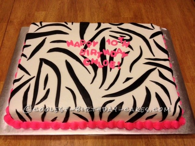Coolest Zebra Print Cake... This website is the Pinterest of birthday cake ideas