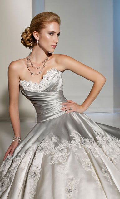 17 best images about silver ideas on pinterest 25th for Silver satin wedding dress