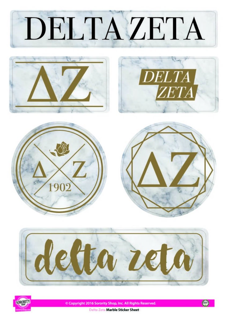 Delta Zeta Sorority Stickers- Marble - Brothers and Sisters' Greek Store