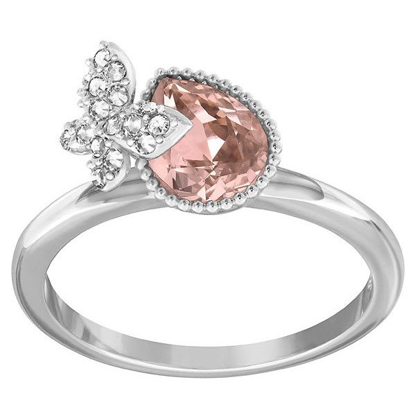 Swarovski Cinderella Ring (25.115 HUF) ❤ liked on Polyvore featuring jewelry, rings, inel, butterfly ring, swarovski jewellery, pink ring, sparkle jewelry and pink jewelry