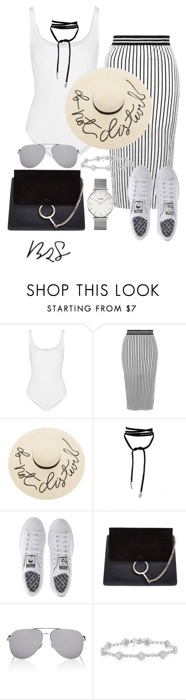 """#741"" by blendingtwostyles ❤ liked on Polyvore featuring Wolford, Topshop, Eugenia Kim, adidas, Chloé, Yves Saint Laurent and CLUSE"