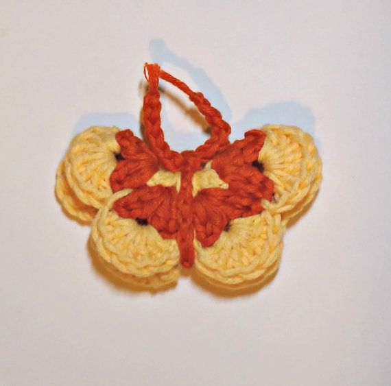Butterfly Fridge Magnet Crochet Magnet Yellow and Orange