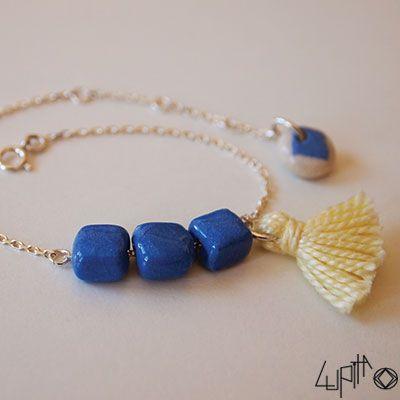 Bracelet PetiKaré Bleu et Pompon jaune - céramique et argent