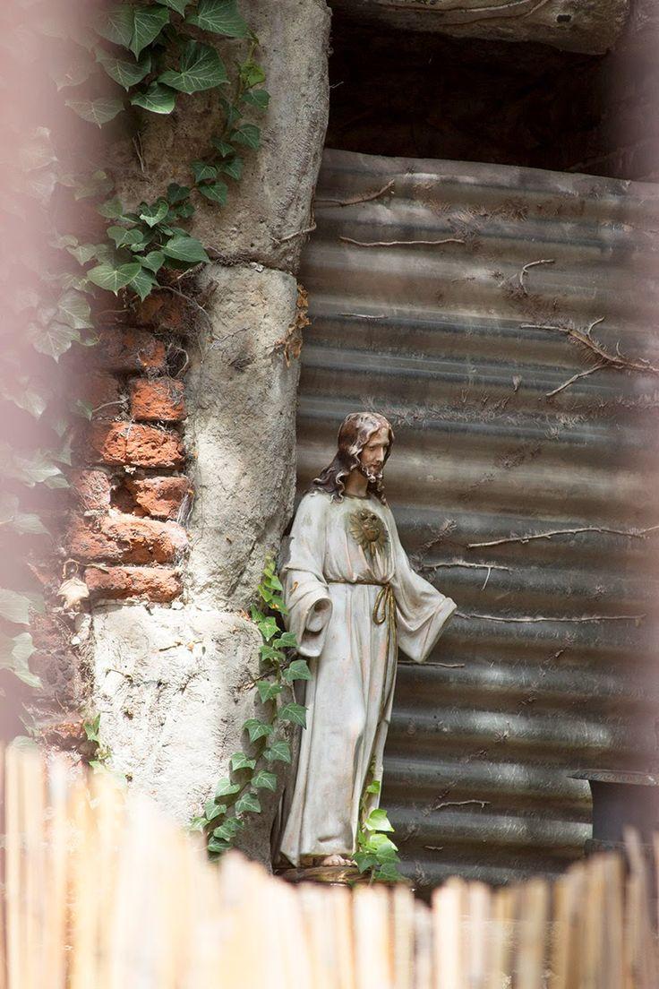 statue of Jesus in a garden in Ghent, Belgium
