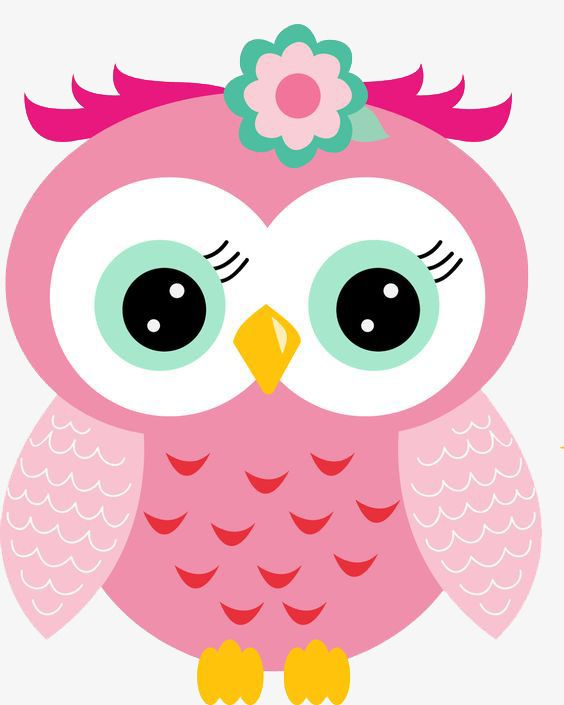 Hand Painted Cartoon Cute Pink Owl, Cartoon Clipart, Cute ...