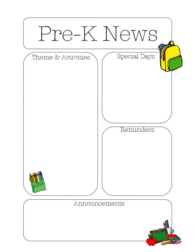 16 Best Preschool Newsletter Images On Pinterest | Preschool