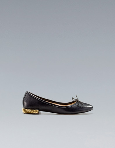 Need a cheap but durable pair of flats that doesnt kill my feet... maybe this is the winner? STUDDED HEEL BALLERINA - Shoes - Woman - ZARA United States