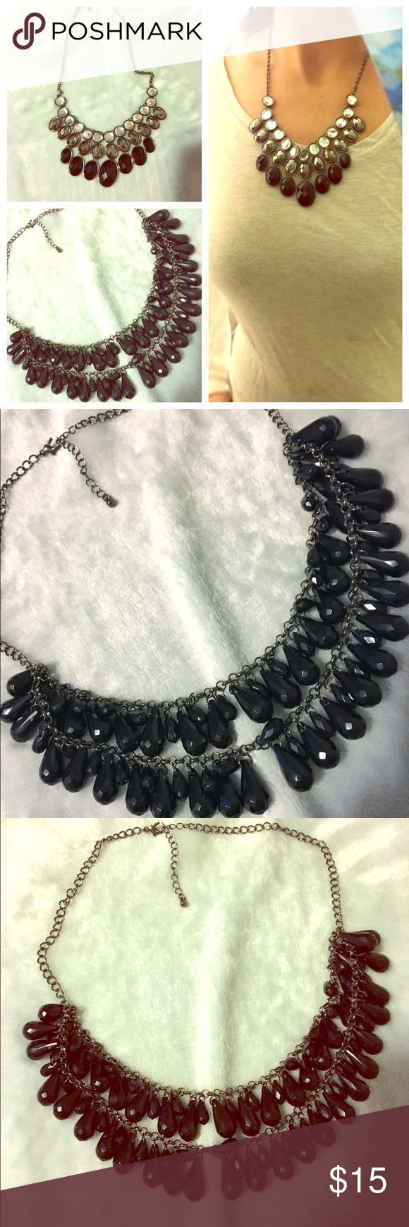 Black statement necklace bundle Black statement necklace bundle. Black necklaces with both pewter settings. Rhinestone necklace with silver, pewter, and black rhinestone statement necklace. Worn only once excellent condition. From charming Charlie. Black teardrop double layer necklace. From forever 21. Never worn. Charming Charlie Jewelry Necklaces