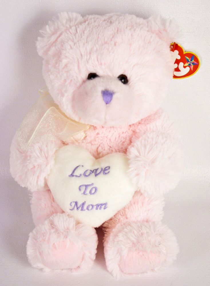 "Ty Beanie Buddies Love To Mom Teddy Bear 11"" Plush Pink Heart Mother's Day NWT 