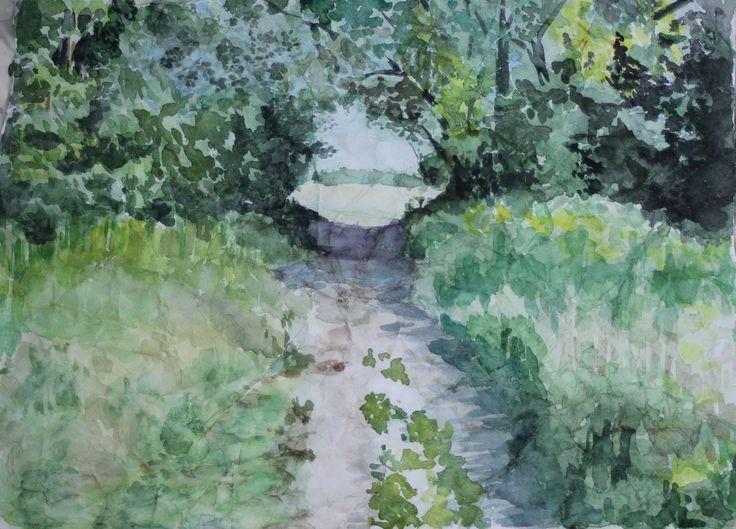 Пейзаж арка, акварель по мятой бумаге, 2015