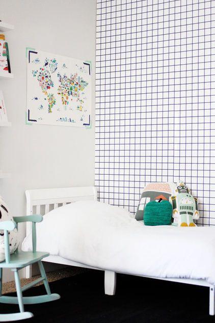 modern kids Jennifer's house: Wallpaper, Grid Wall, Boys Room, Merry Mishap, Boy Room, Bedroom, Kids Rooms