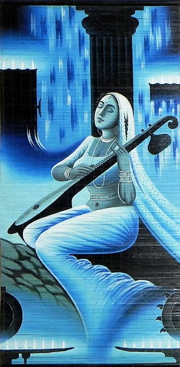 Meerabai - (Wall Hanging) (Painting on Woven Bamboo Strands))