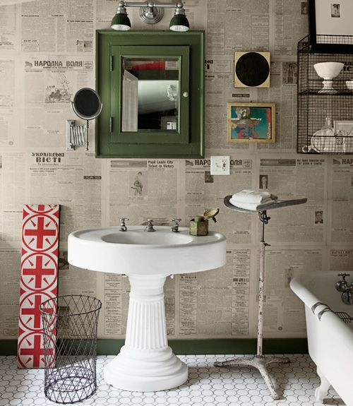 Newspaper as wallpaper? Indeed! See how to do it.     #diy  This would be fun to do with the funnies.