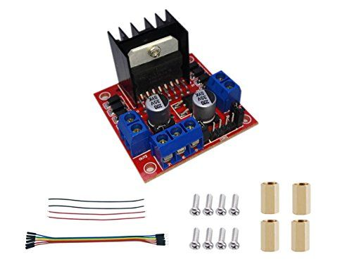 EMO L298N KIT DC Stepper Motor Drive , Arduino motor control  L298N as a driver module for two DC motors or a stepper motor(2 or 4 phase)  Use 6-35V power supply, and output 5V  Provide a installion Kit Contain Screws and Dupont Line  Detailed manual contains solutions and code  Durable in use