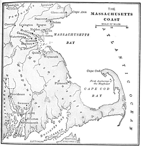 Founder Of Massachusetts Bay Colony | Massachusetts Bay Colony: Map of Massachusetts Coast