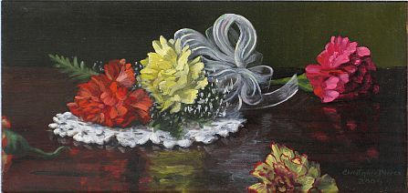 Christopher Pierce, Carnation Corsage, 2013, oil on canvas, 8 X 16 inches