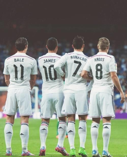 Gareth Bale, James Rodriguez, Cristiano Ronaldo, Toni Kroos - don't like Real Madrid but these guys are amazing!