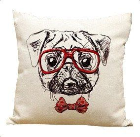Cotton Pug Pillow Cover (9 Styles)
