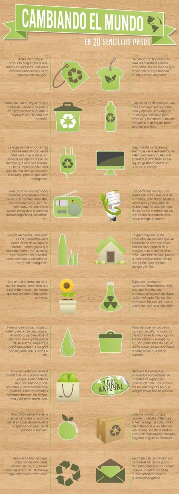 Medio ambiente  Cómo cambiar el mundo en 20 sencillos pasos #infografía En httpwww.concienciaeco.com20121226como-cambiar-el-mundo-en-20-sencillos-pasos-infografia