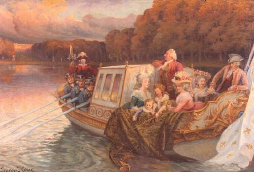 I love this painting of Louis XVI, Marie Antoinette, their family and friends boating on the lake at Versailles on a balmy, golden Autumn afternoon.