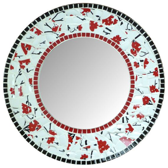 Mirror Round  Mosaic  Wall   17.5 Cherry Blossom by SunAndCraft, $199.00