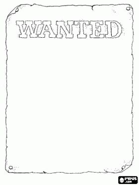 wanted poster templete coloring page | Cowboy coloring pages, Cowboy coloring book, Cowboy printable color ...
