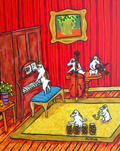 Jack-Russell-terrier-jam-band-8-5x11-signed-artist-prints-animals-impressionism