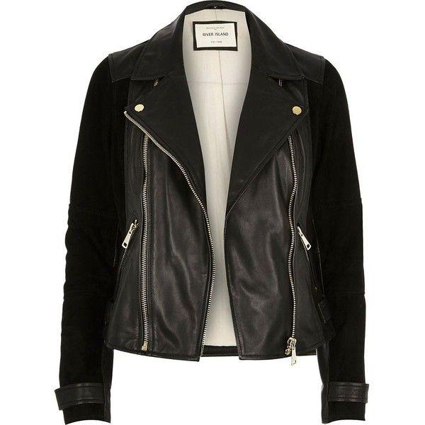 River Island Black premium leather and suede biker jacket ($240) ❤ liked on Polyvore featuring outerwear, jackets, leather jacket, biker jackets, black, coats / jackets, women, motorcycle jacket, real leather jacket and moto jacket