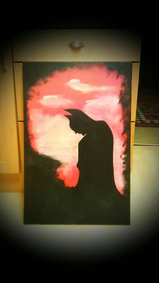 Silhouette painting of Batman on canvas