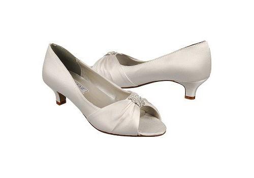 "Angel  Heel height 1 ¾"". Dyeable white silk satin. Sizes 5-11."