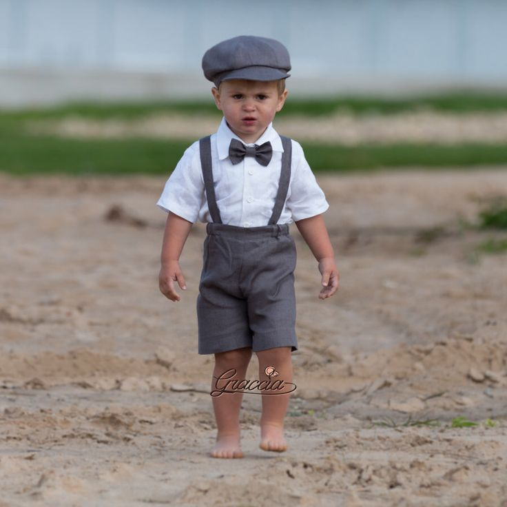 8cc967d7c Ring bearer newsboy outfit Baby boy gray linen suit Wedding boy ...