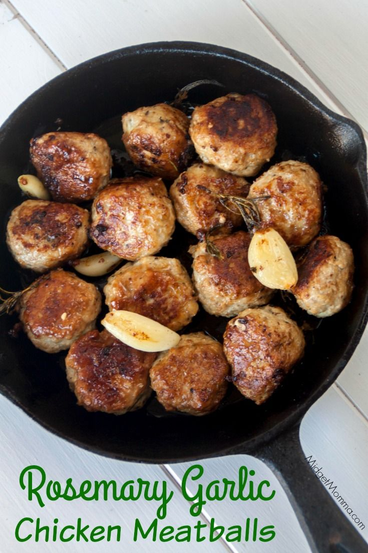 Rosemary Garlic Chicken Meatballs. Easy to make with an amazing flavor. Eat them alone or add to pasta with meatballs and sauce.