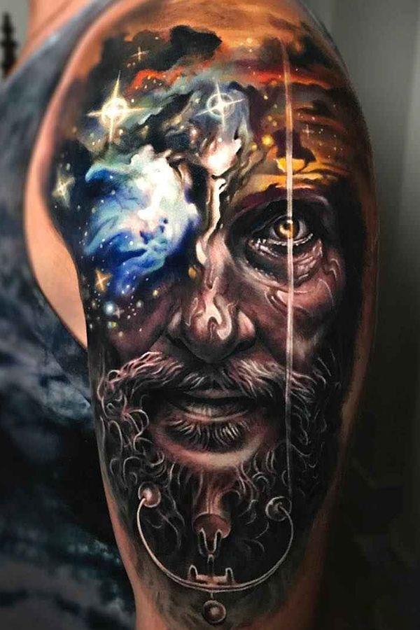 Man Portrait Tattoo Done By Tattoo Artist Arlo Dicristina Graned Junction Wormhole Tattoo Best Choice For Tattoo Artists Tattooing Tattooist Tattooed I