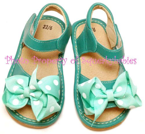 Girls Squeaky Shoes Turquoise Teal Add A Bow Light Teal White Polka Dot Bows | eBay