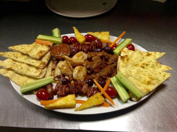 Starter Platter, chicken livers; calamari; chourico ; halloumi and focaccia. Delicious!!!!