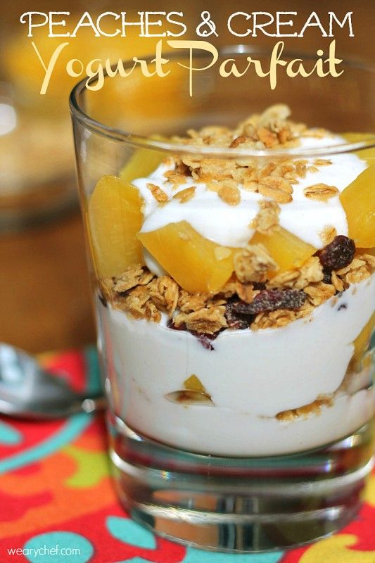 Peaches and Cream Yogurt Parfaits - A quick, easy, healthy breakfast idea!: Peaches Trifles, Breakfast Ideas, Cream Yogurt, Easy Healthy Breakfast, Fruit And Yogurt Parfait, Creamy Yogurt, Healthy Breakfasts, Peaches Fruit, Peaches And Cream