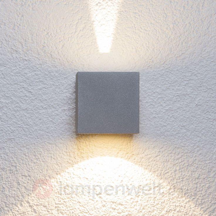 Silberne LED-Außenwandleuchte Jarno, Würfelform sicher & bequem online bestellen bei Lampenwelt.de.
