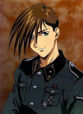 Gundam Wing ~~ Trowa Barton with Oz Uniform. It's rare to see him smiling like that.