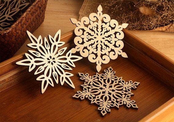 Set 4 pcs Snowflake Christmas Coasters Drink Coasters, Christmas Decoration Wood Coasters, Wooden Snowflake Ornaments, Christmas Ornaments