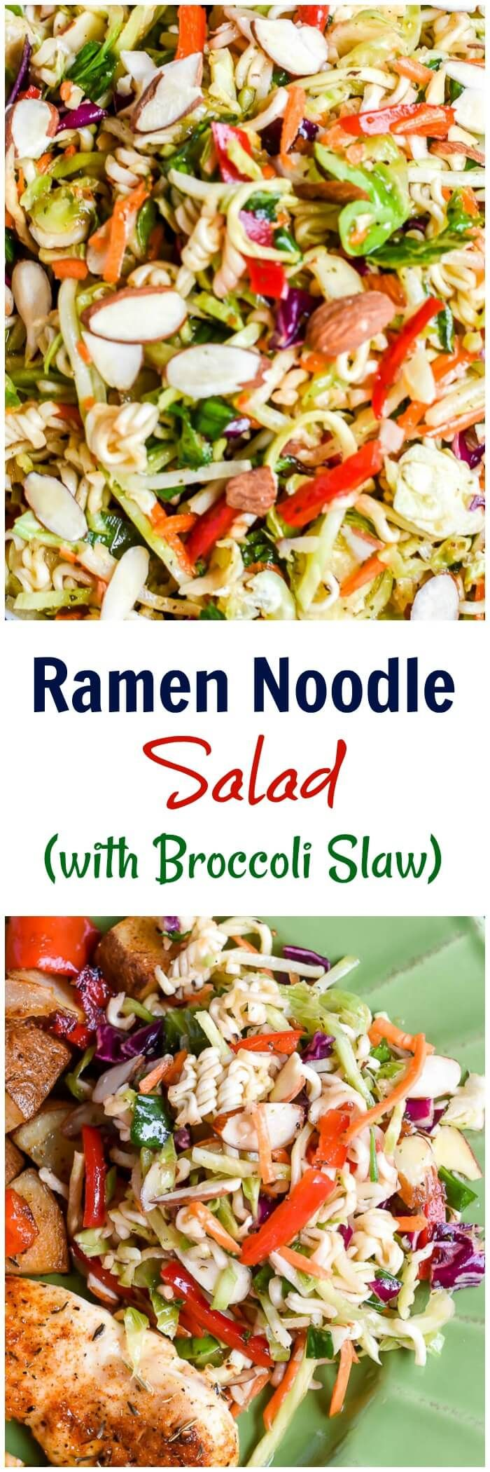 This Ramen Noodle Salad is a make ahead cole slaw, made with broccoli slaw and ramen noodles, that is perfect for a side dish for a potluck, bbq, or picnic. via @flavormosaic