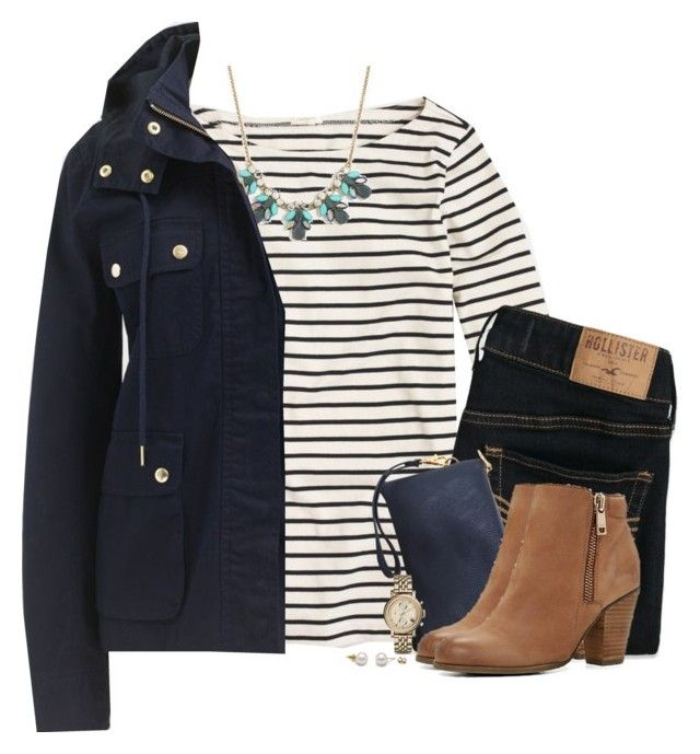 J.Crew navy jacket, stripes & statement necklace by steffiestaffie on Polyvore featuring polyvore, fashion, style, J.Crew, Hollister Co., ALDO, Humble Chic, FOSSIL and clothing