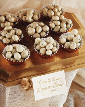Gold foil cupcake liners held coffee-and-cream espresso beans at Blake Lively and Ryan Reynolds' wedding