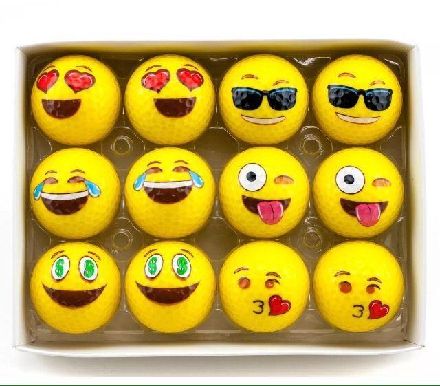 2-Ply Professional Practice Golf Balls 12 Pack Emoji Balls New