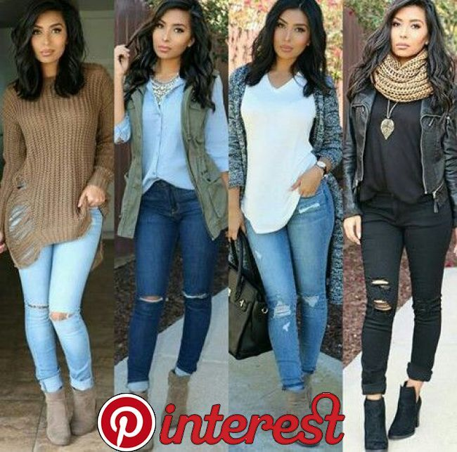 100+ blouse + ripped jeans #falloutfits #skirtoutfits