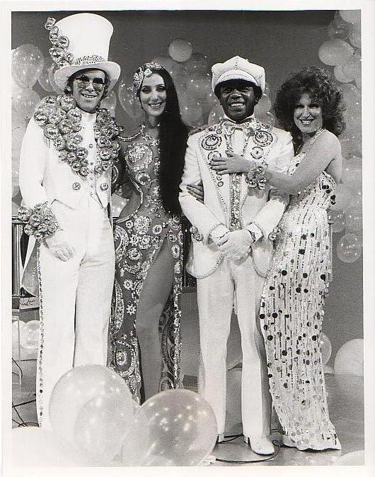 From 1975's 'The Cher Show' Elton John, Cher, Flip Wilson & Bette Midler all in Bob Mackie