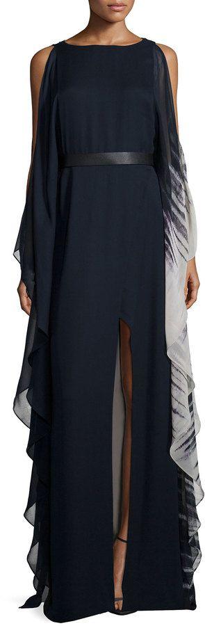 Halston Heritage Cold-Shoulder Ombre Caftan Gown