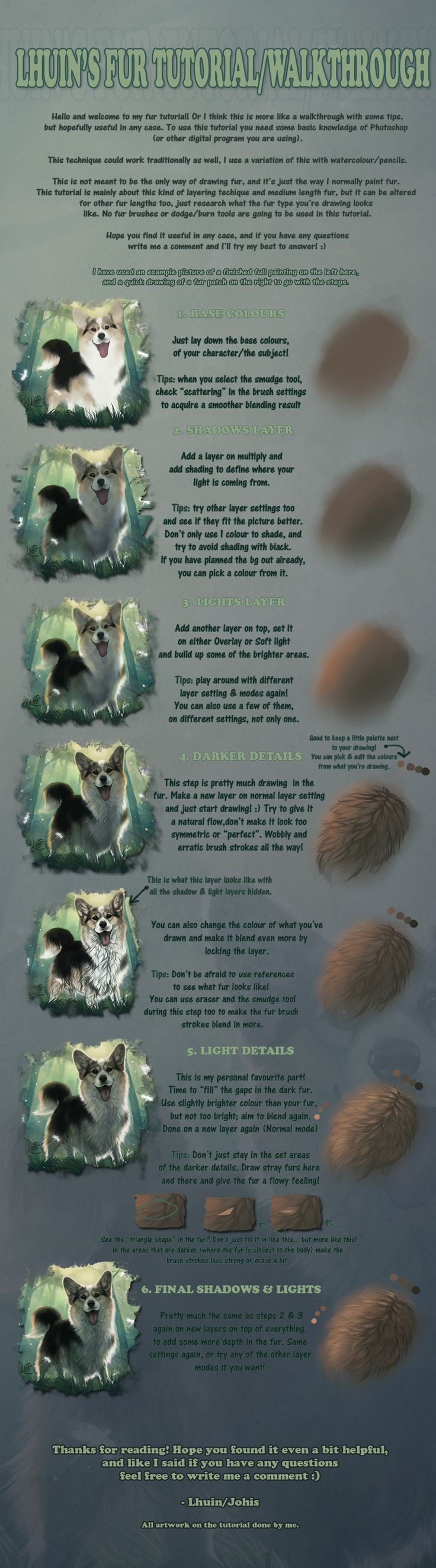 Fur tutorial/walkthrough (mainly longer fur) by Lhuin.deviantart.com on @deviantART