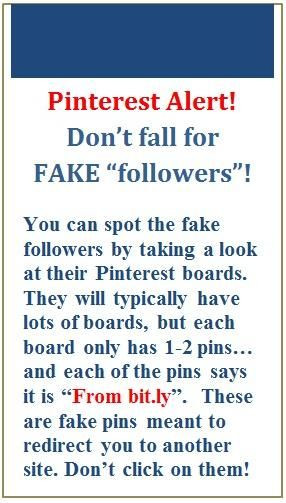 "Beware of ""Fake Followers"", they follow your boards and hope you will follow them back. They want you to repin their bogus pins which are usually linked to viruses or phoney advertising scams."