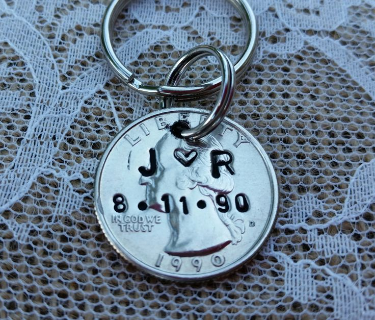 stamped quarter key chain, 1991, 25 year anniversary,personalized gift , 25th birthday, special birthday, by TiffysLove on Etsy